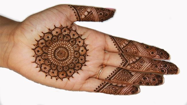 Mehndi Patterns Vector : Traditional circle mehndi designs for front hand fashion