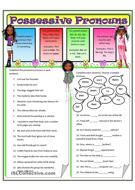 Possessive Pronouns 2 | Homeschool | Pinterest