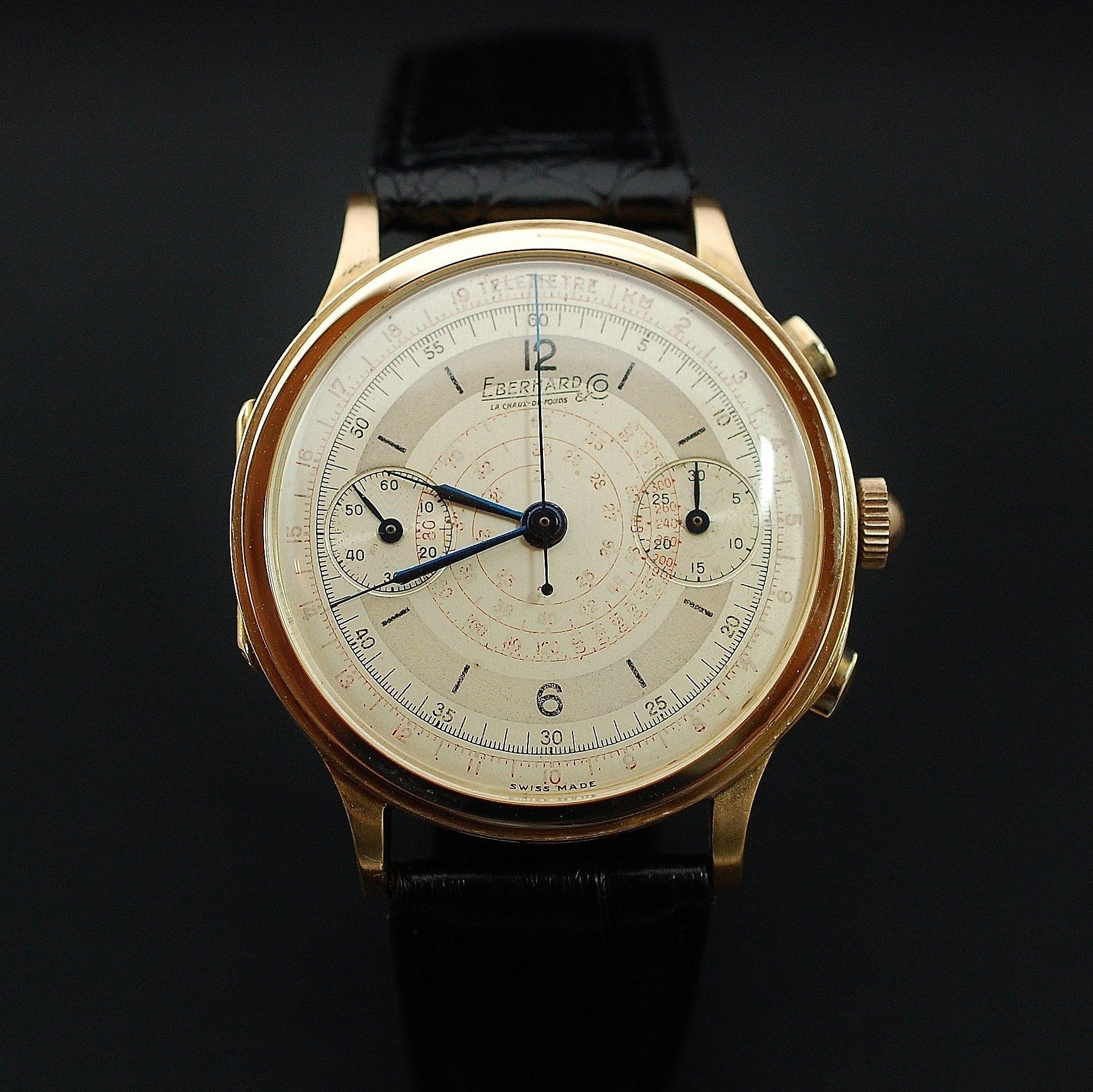 Montre Casio Couleur Or destiné à vendre : 4800€ montre eberhard vintage chronographe mono poussoir