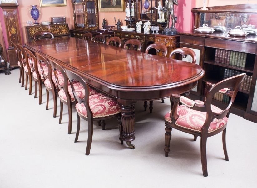 Entertain The Whole Neighbourhood With This Stunning Victorian Mahogany  Dining Table And Set Of 14 Chairs.