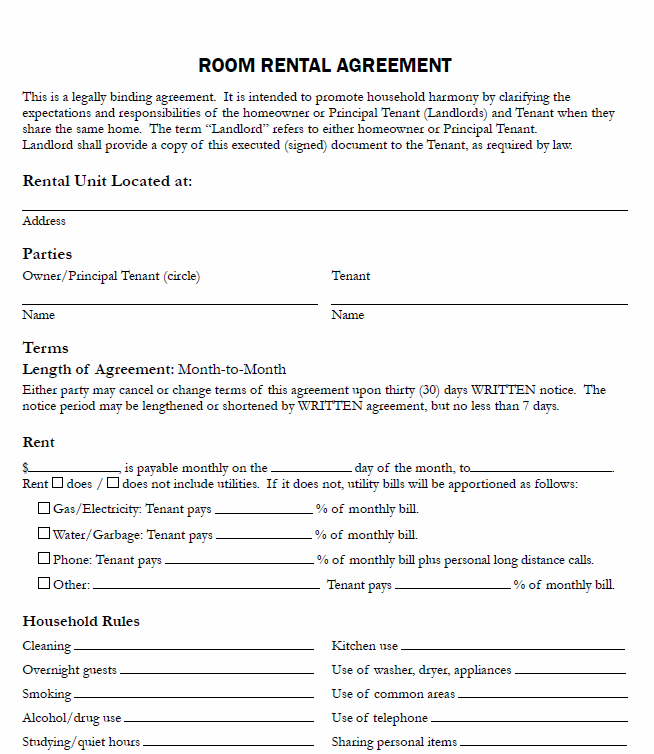 Printable Sample Free Printable Rental Agreements Form – Blank Rental Agreements