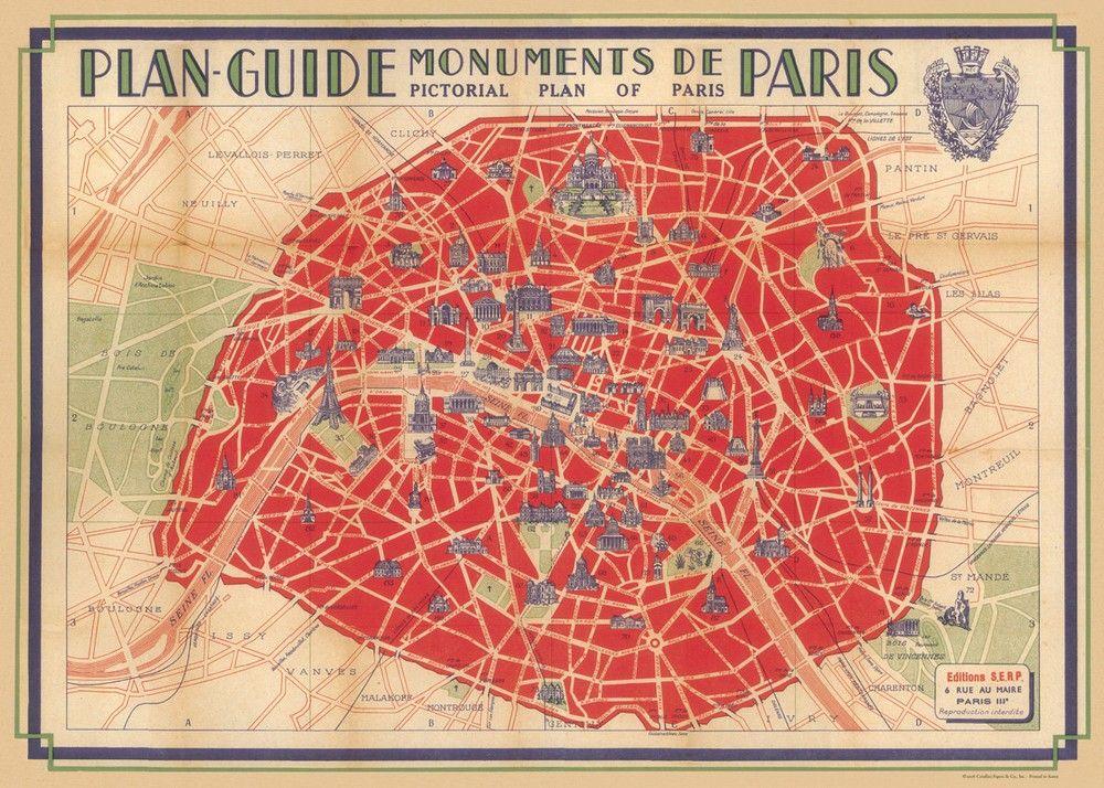 Vintage Map Of Paris Poster By Cavallini Vintage Paris Map Paris Map Paris Poster