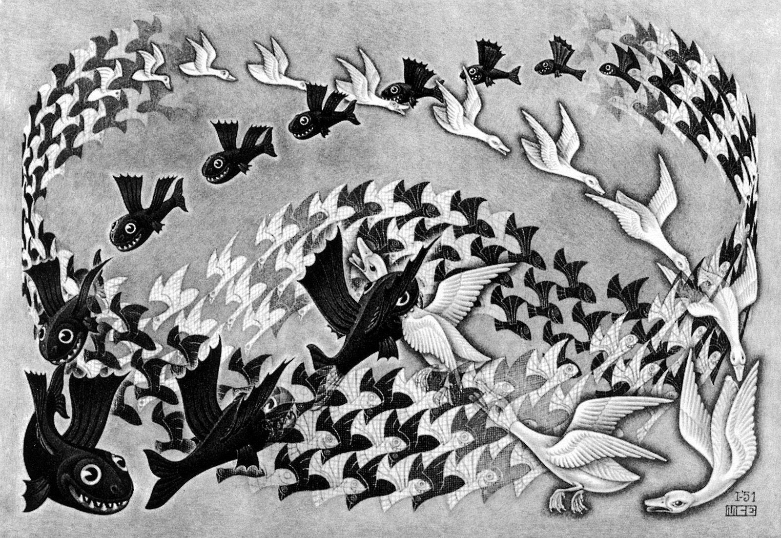 FINE ART PRINT Surreal Escher Art High Quality MC Escher /'Scholastica/' 1931