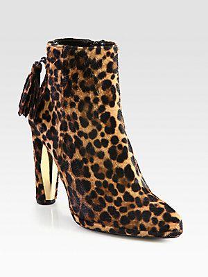 cce9fbc265af Stuart Weitzman Leopard-Print Calf Hair Ankle Boots | Haute Shoes ...
