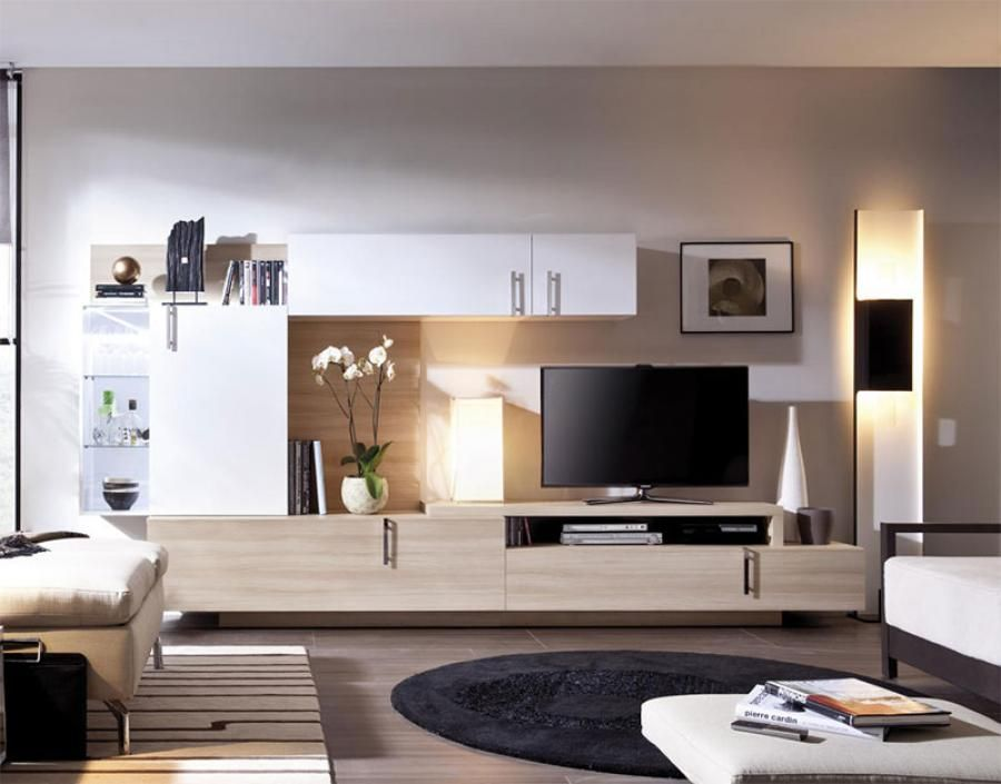 Modern wall storage system for the living room with LED lighting in ...