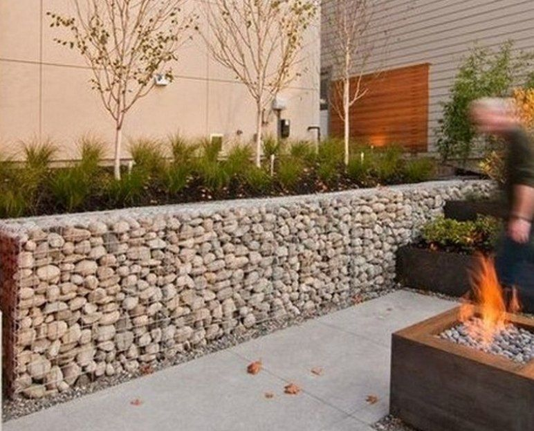 Modern Gabion Retaining Wall Modern Landscape Front Yard