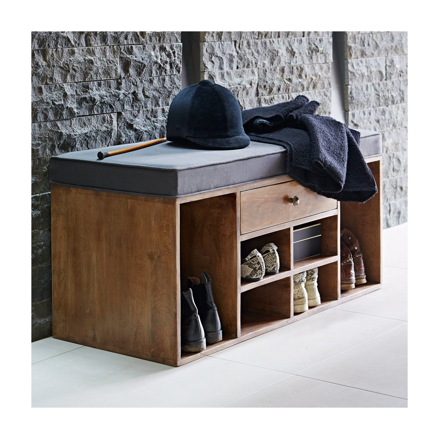 bench with and espresso of design cushion storage wood totes drawer drawers inch
