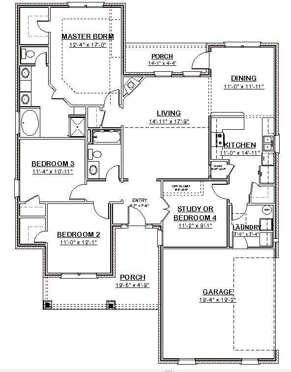 Custom House Home Building Plans Ranch 3 bed Study 1748 sf