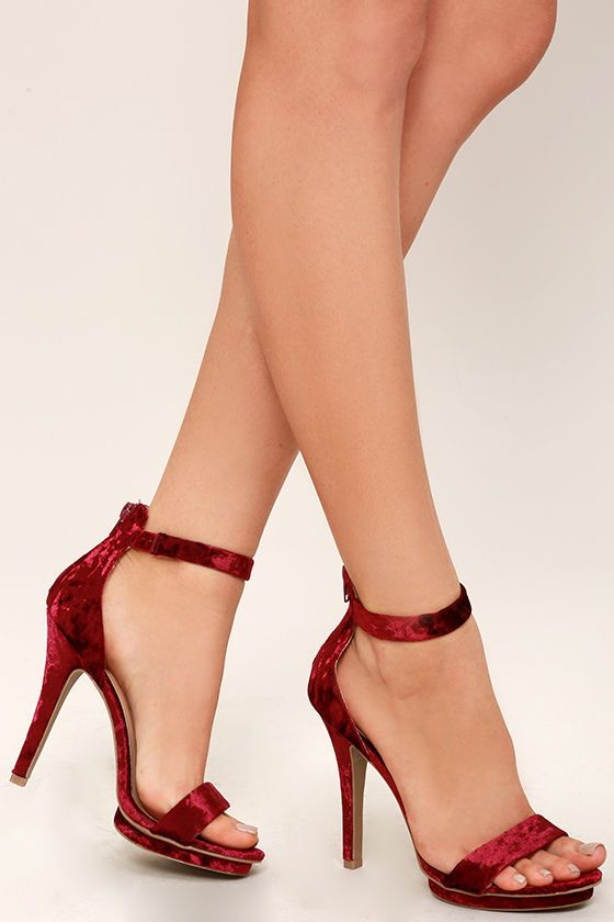 e2e96beef6 The Samantha Burgundy Velvet Platform High Heel Sandals are all about the  sass! These crushed velvet dress sandals have a stepped 0.5