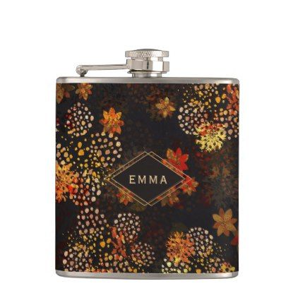 Orange Amp Brown Floral Design With Name Hip Flask Pattern Sample Design Template Diy Cyo Customize Brown Floral Flask Floral Design