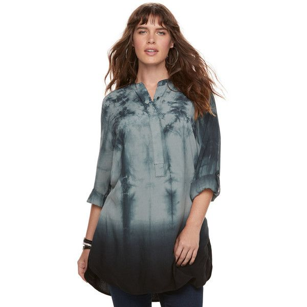 b302fc885d51a Plus Size Rock   Republic® Tie-Dye High-Low Tunic ( 40) ❤ liked on Polyvore  featuring tops