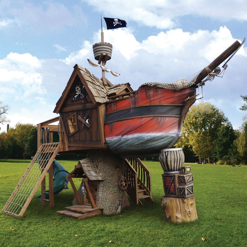 wow. That would be so fun and way better then a trampoline. So many adventures can be played in a pirate ship fort.