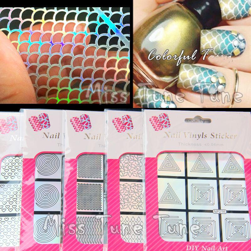 Uso multiplo nail art hollow argento laser stencil adesivi vinili di trasferimento immagine facile stamping 12 stili mermaid leopardo