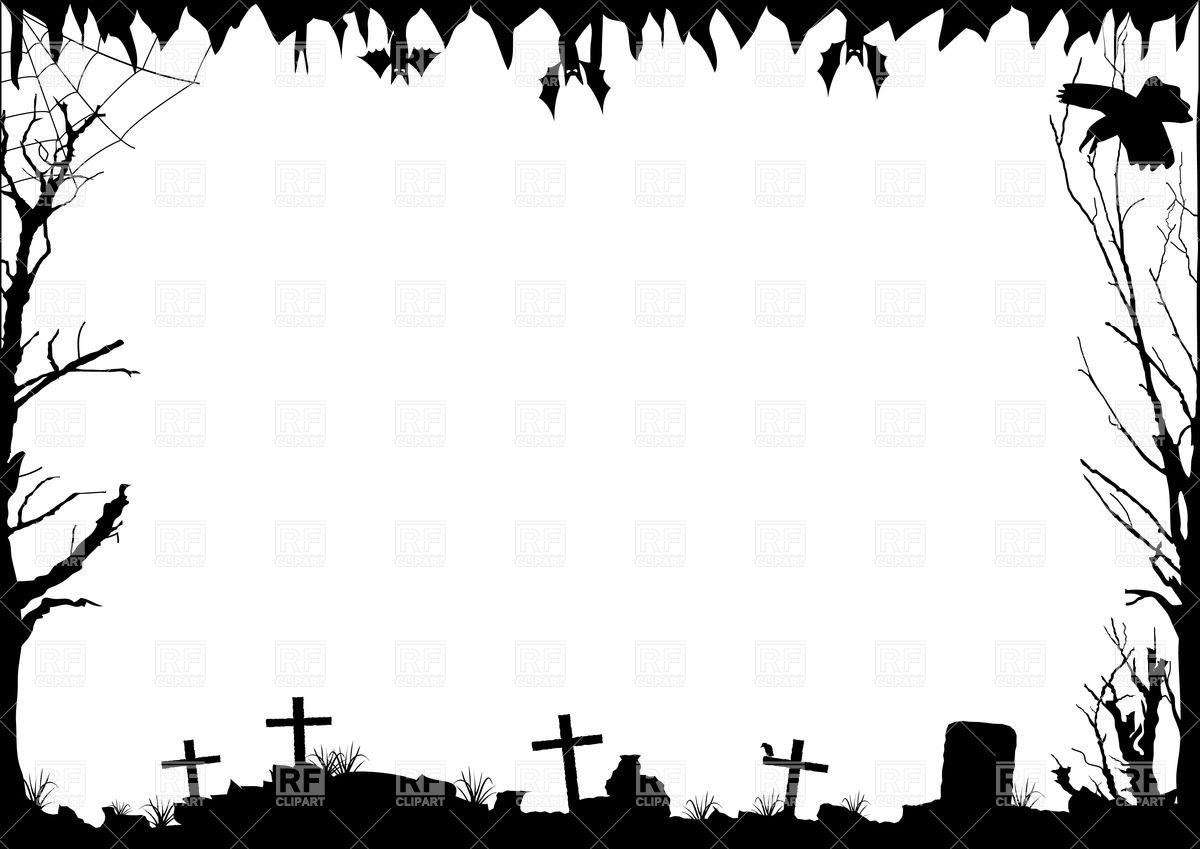 halloween border with graves 33760 borders and frames download rh pinterest ca free halloween page border clip art halloween border clip art free