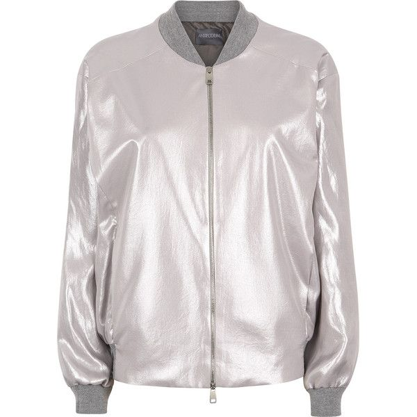 Washed Silver Metallic Bomber Jacket ($545) ❤ liked on Polyvore featuring outerwear, jackets, bomber jacket, bomber style jacket, flight jacket, summer jacket and white jacket