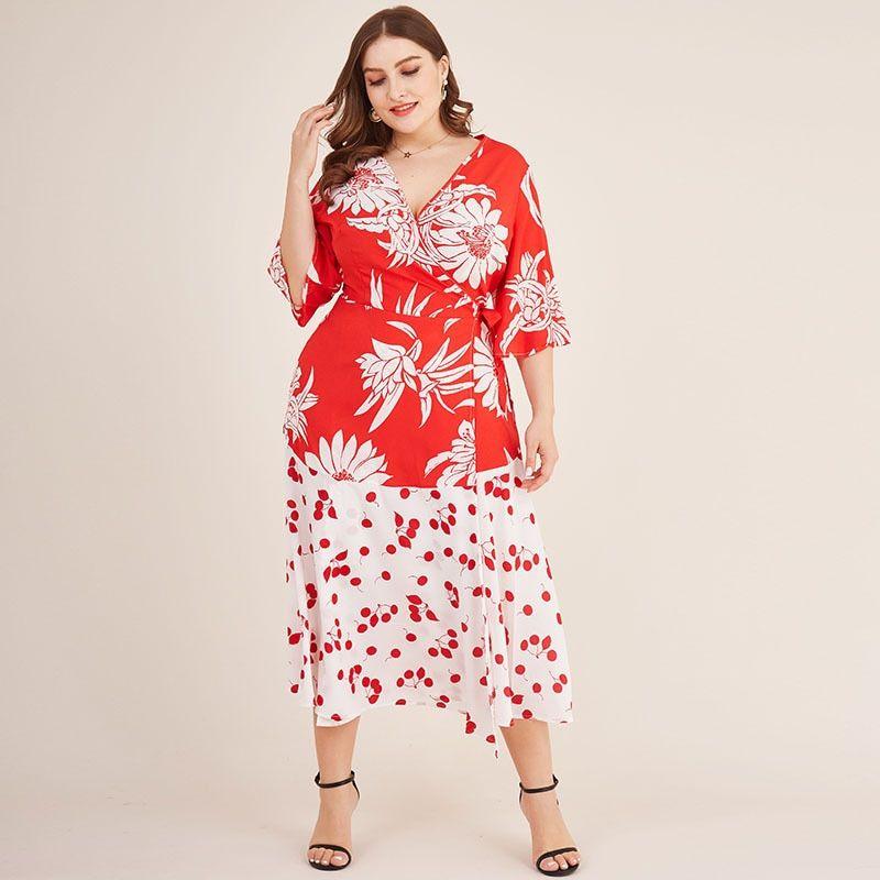 #women #floral #print #long #chiffon #dress #v-neck #bohemia #beach #vestidos #elegant #midi #dresses #large #size #african #clothes #summer #2020