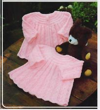 VINTAGE KNITTING PATTERN - LACY BABY OUTFIT TO KNIT ON YOKE - DK & 4PLY dress cardigan