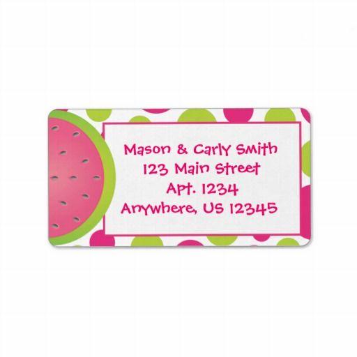 Pink and Green Watermelon Polka Dot Address Labels. www.gem-ann.com (Zazzle store)