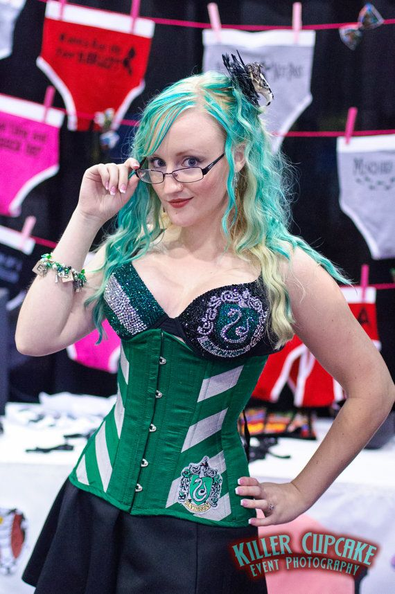 acddf2ffb55 Masha - for our trip to Hogwarts - Slytherin Long Line Corset by  castlecorsetry on Etsy