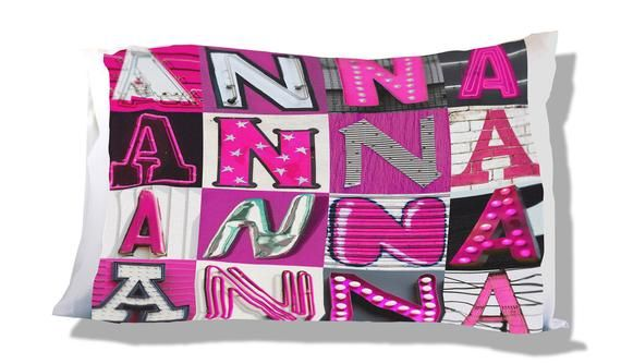 Personalized Pillow Case featuring ANNA in PINK sign letters; Custom pillow cases; Teen bedroom deco