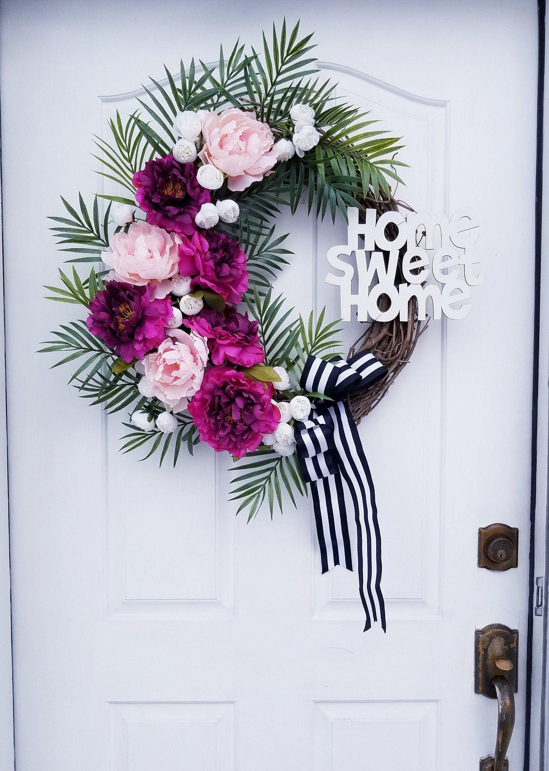Summer Wreath, Pink Peonies Wreath, Home Sweet Home, Floral Home Decor  #SummerWreath #SpringWreath #FrontDoorDecor #PinkPeonyWreath #FarmhouseWreath #HandmadeForHome #HomeSweetHome #FloralWreath #FloralHomeDecor #FrontDoorWreath