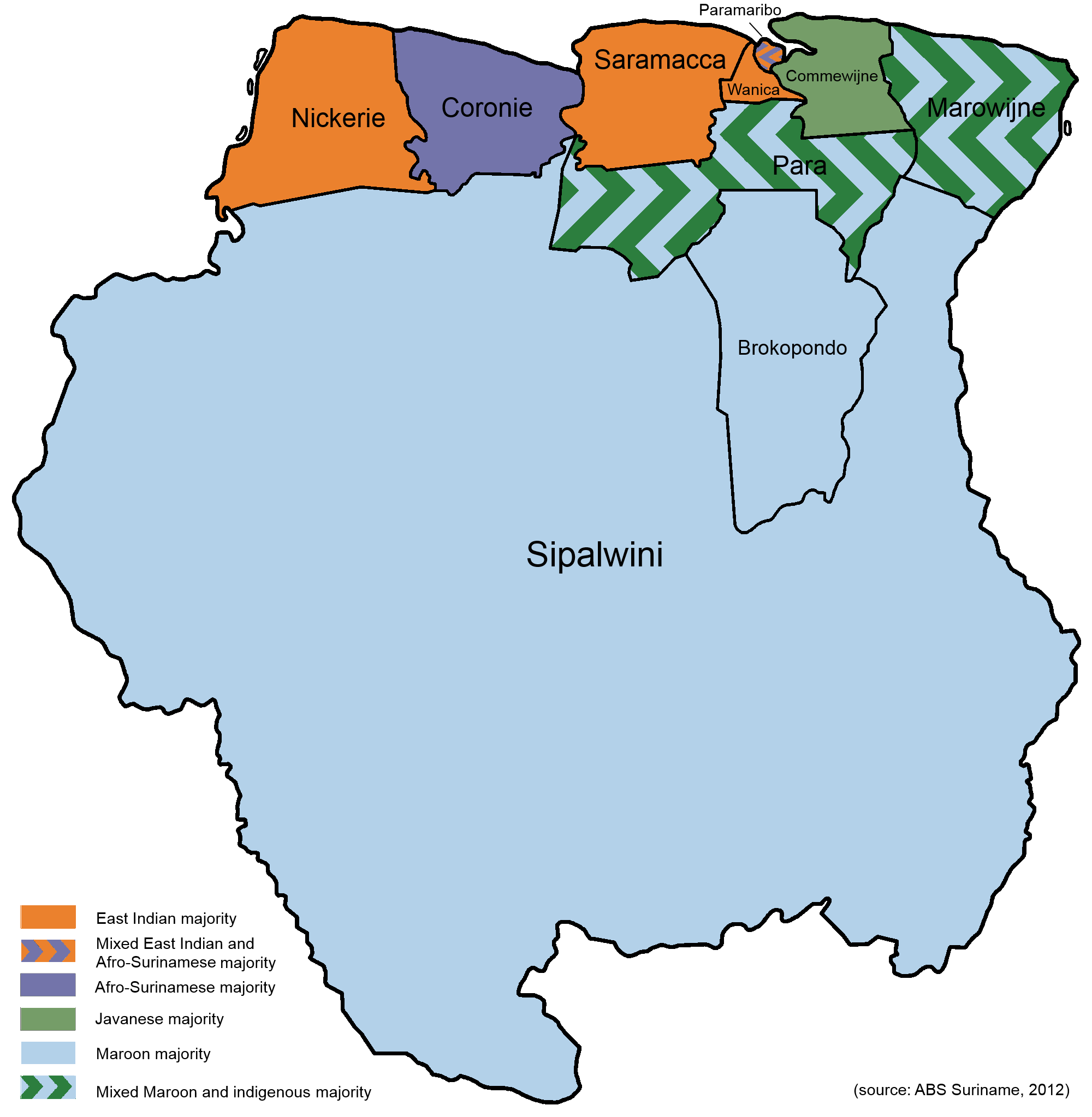 Ethnic Map Of Suriname Ethnolinguistic Maps South America Map