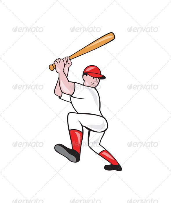 Baseball Player Batting Isolated Full Cartoon Cartoon Styles Baseball Players Cartoon