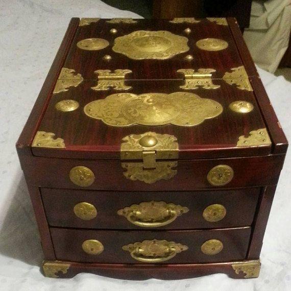Vintage Korean Jewelry Chest Jewelry Box with by OkieMarket Okie