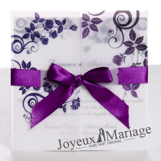 Faire part mariage violet et blanc pas cher