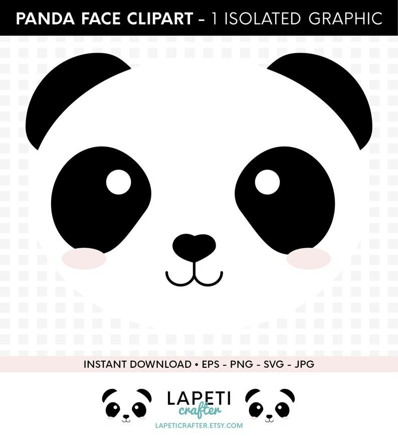 Panda Svg Clipart Cute Panda Face Svg Eps Jpg Png Commercial Use Digital Clipart Panda Vector Isolated Panda Bear Instant Download Clipart Oso Osos Pandas Dibujo Decoraciones De Panda