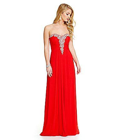 Blondie Nites Strapless Beaded Neckline Long Dress #Dillards   The ...