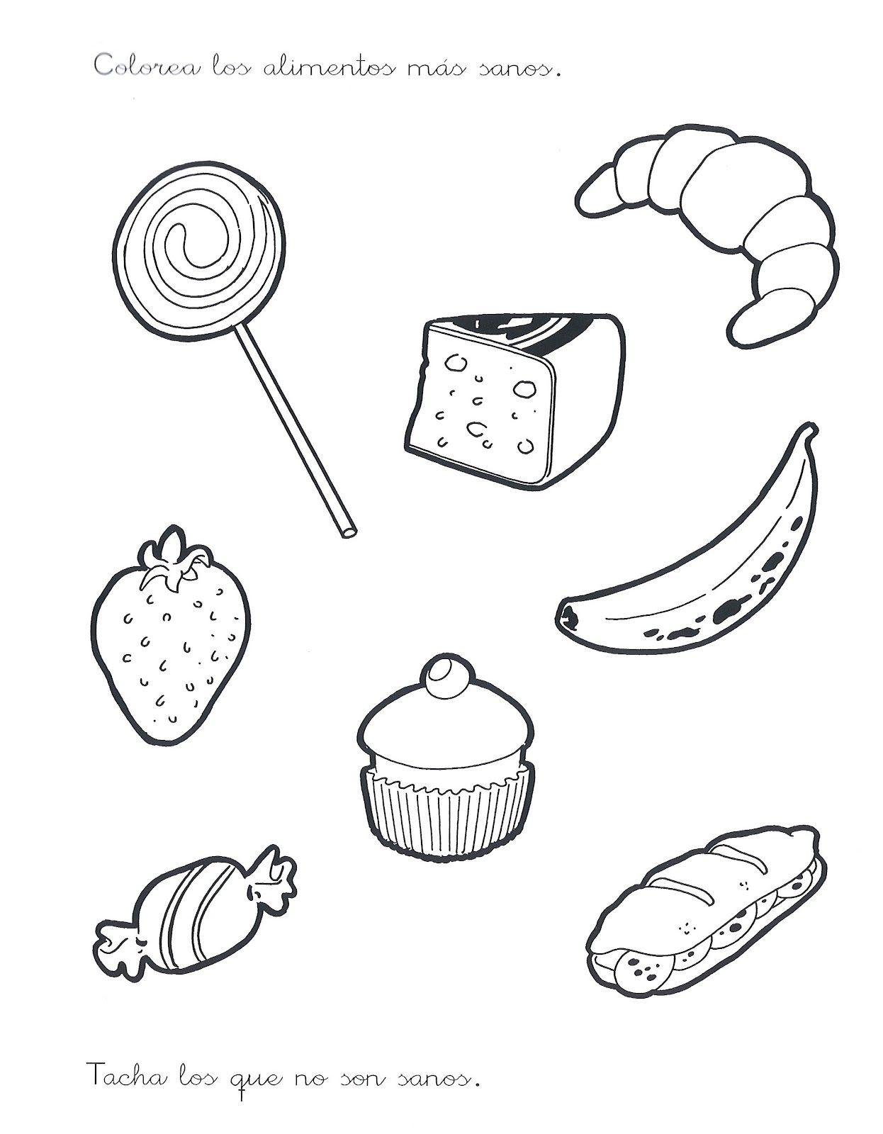 Imagenes de comida saludable y chatarra para colorear - Imagui ...