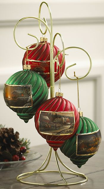 TERRY REDLIN HOLIDAY ORNAMENTS ~ These individually blown, hand-painted  glass holiday bulbs with gold-plated accents make great collectible gifts! - TERRY REDLIN HOLIDAY ORNAMENTS ~ These Individually Blown, Hand