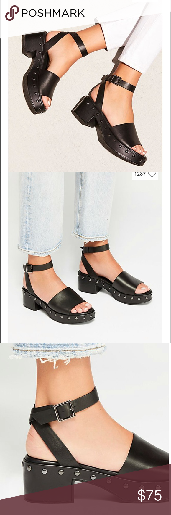 e5ff614c8551 NWT Free People Stand By Me Platform Sandal Platform clog-style sandal  featuring studded details and a wraparound ankle strap. With original box  Adjustable ...