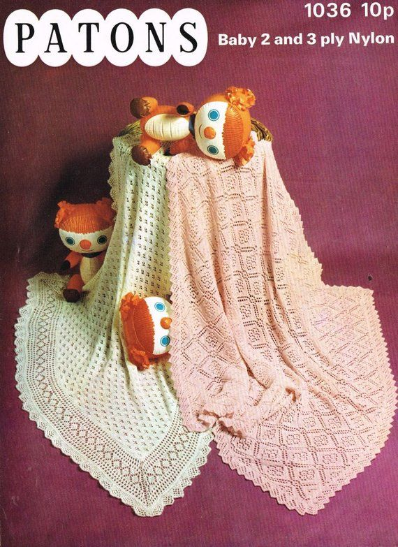 two designs square baby shawls vintage baby knitting ...