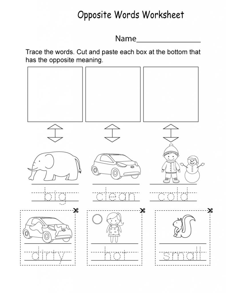 Kindergarten English Worksheets - Best Coloring Pages For Kids   Opposites  worksheet [ 1024 x 791 Pixel ]