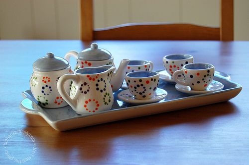 painted tea set, make with mom!