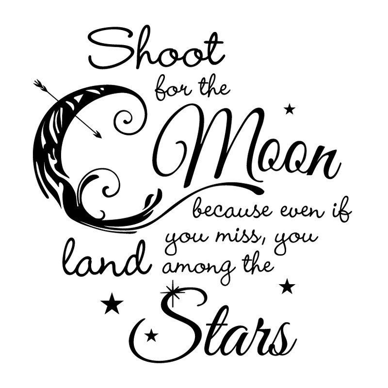 Shoot For The Moon Land Among The Stars Quote 1 Color Wall Art