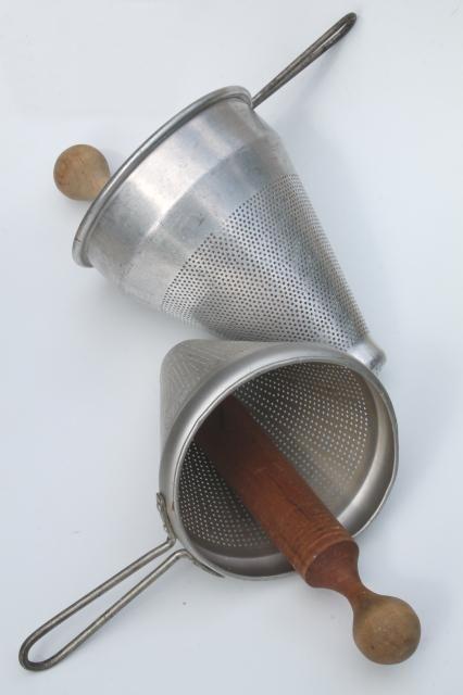 image vintage kitchen craft ideas. Kitchen Craft. Vintage Strainer / Food Mill Cone Shaped Sieves W/ Wood Masher Pestle Image Craft Ideas C