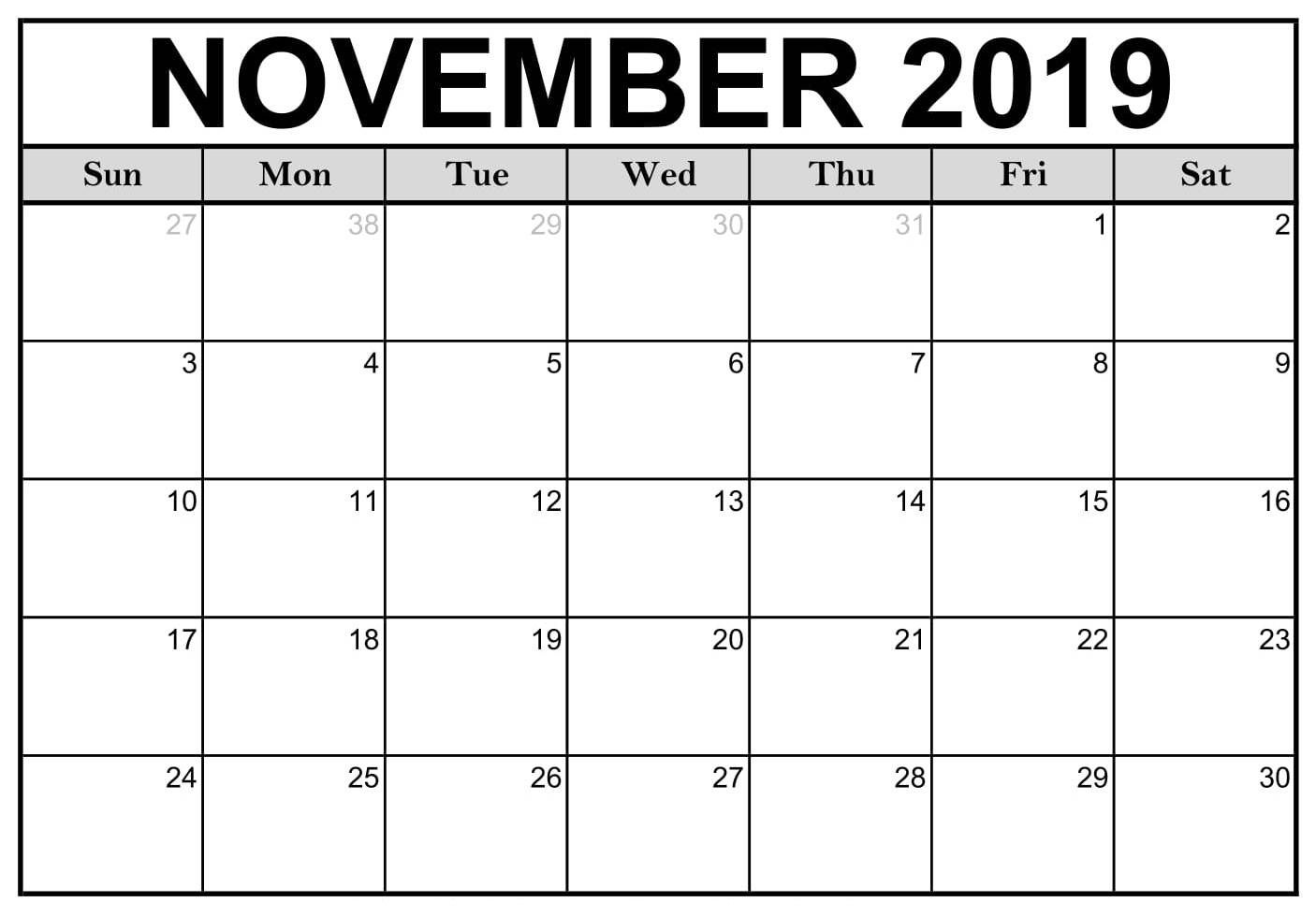 Blank Calendar November 2019 With Holidays Calendar Printables