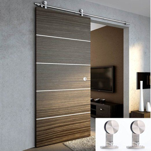 TCBunny 6 Ft 7 Inch Modern Stainless Steel Interior Sliding Barn Wooden Door  Hardware Track Set