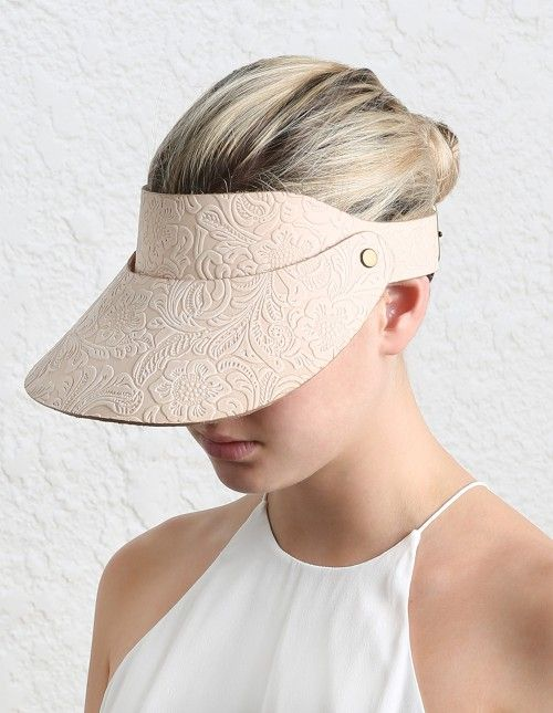 Tooled Floral Leather Visor - Hats - Accessories & Shoes