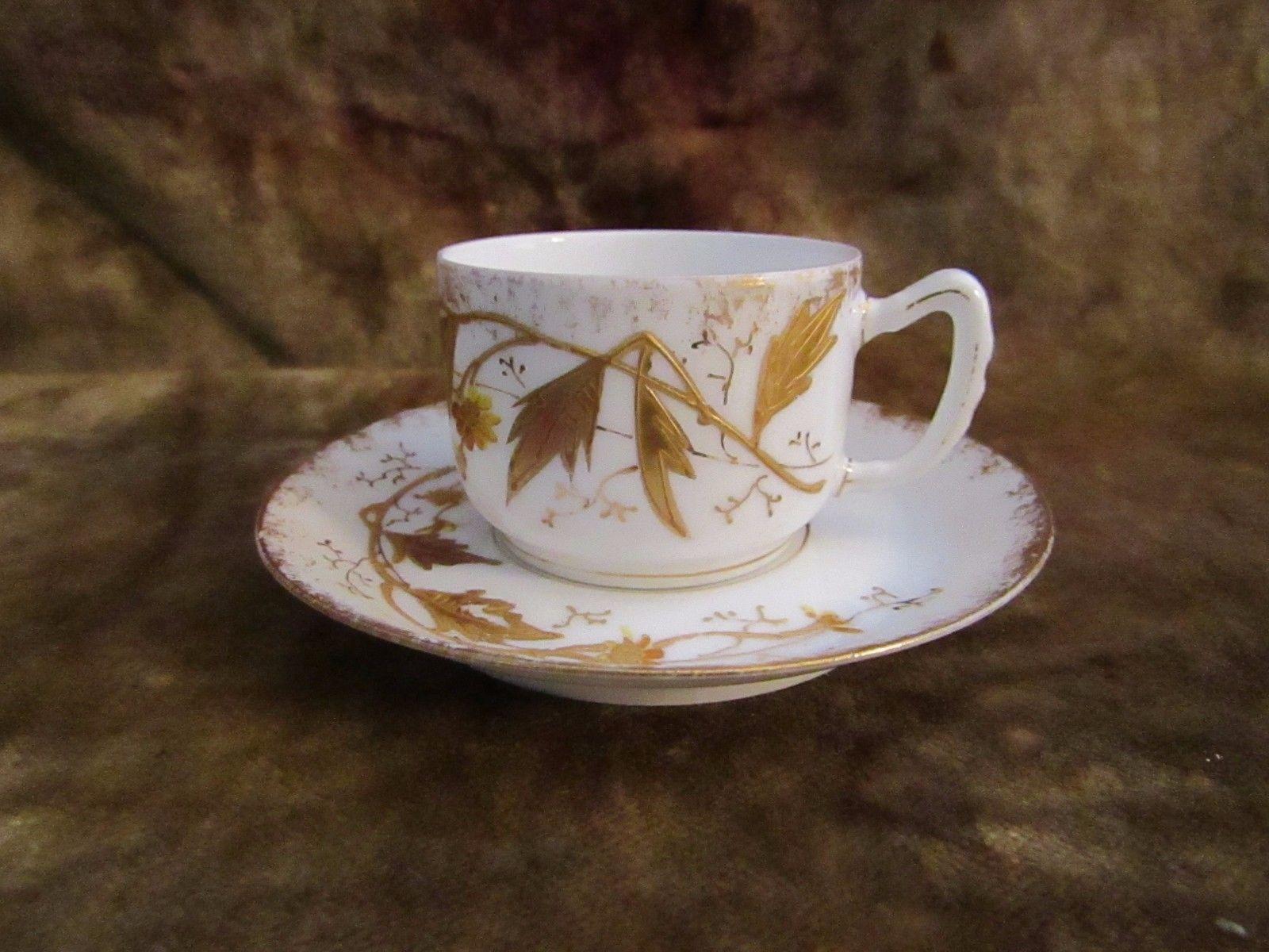 Antique A.K. Limoges France Set of (3) Demitasse Cups & Saucers/DELICATE!