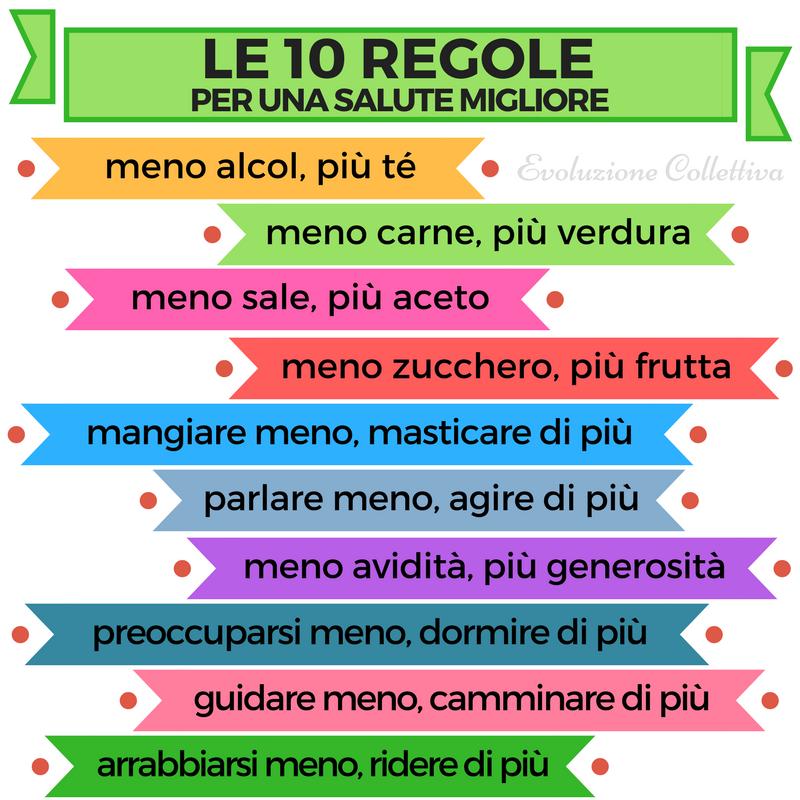 Le 10 regole per una salute migliore #aforismi #frasi #citazioni  #evoluzionecollettiva | Benessere, Rimedi naturali, Salute e benessere