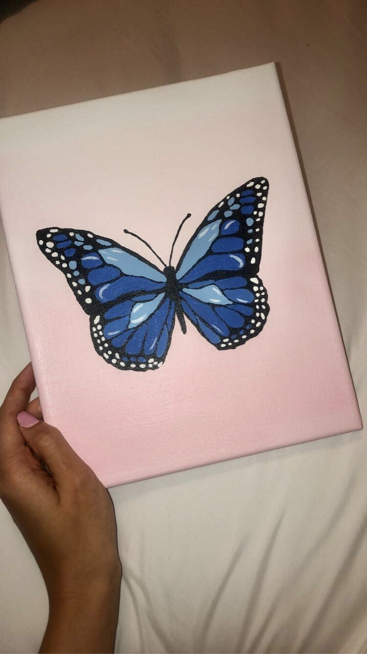 Blue Butterfly Painting Canvas Small Canvas Art Diy Canvas Art Painting Cute Canvas Paintings