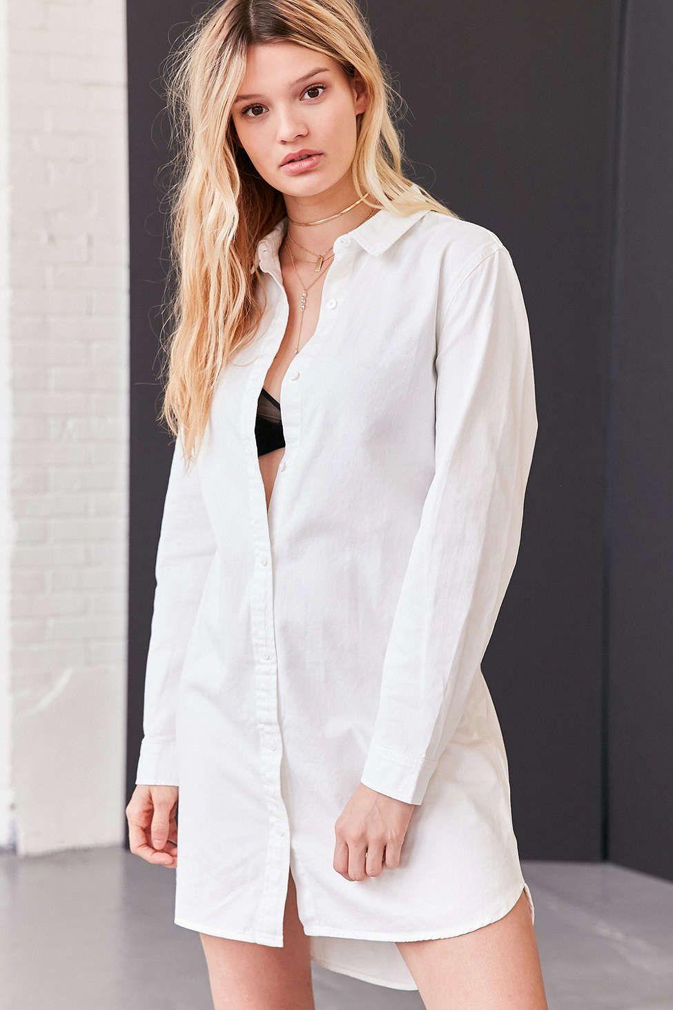 17++ White button down shirt dress info