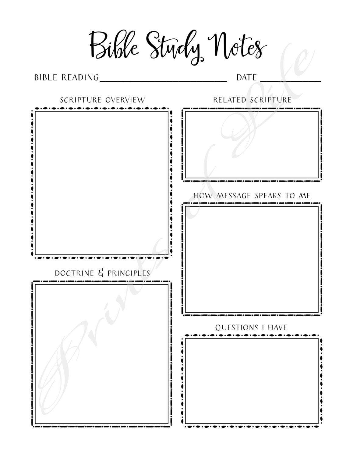 Bible Study Notes Printable Instant Download Church Journal Scripture Planner Worksheet