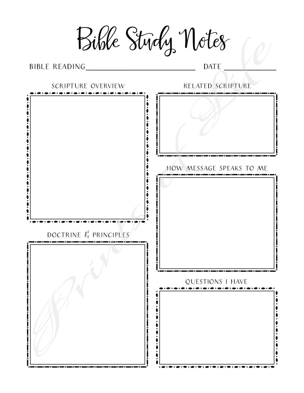Bible Study Notes Printable Instant Download Church Journal Scripture Planner Worksheet