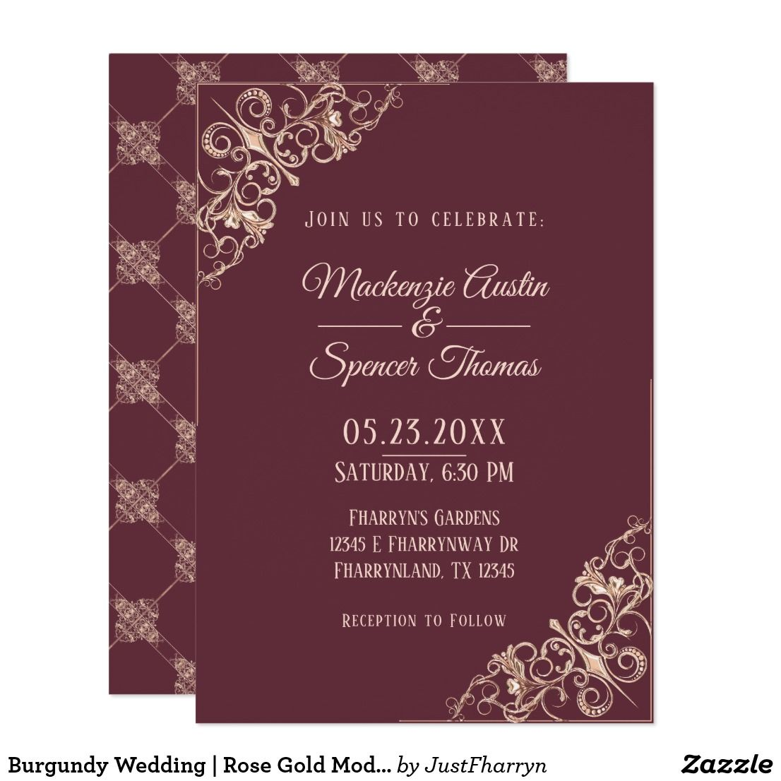 Burgundy Blush Pink Rose Gold Modern Ornamental Invitation | Wedding ...