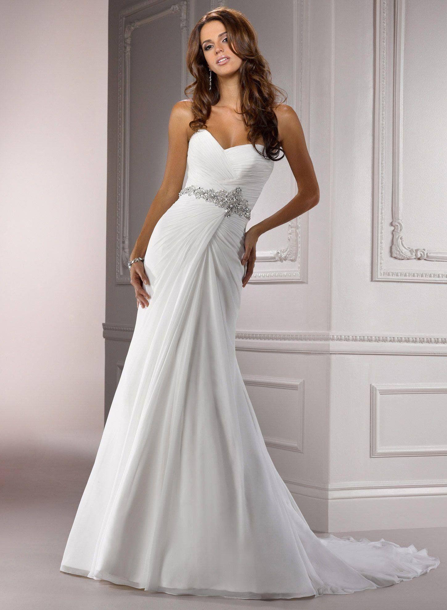 A line chiffon wedding dress  Brand new Maggie Sottero white size   vestidos de novias